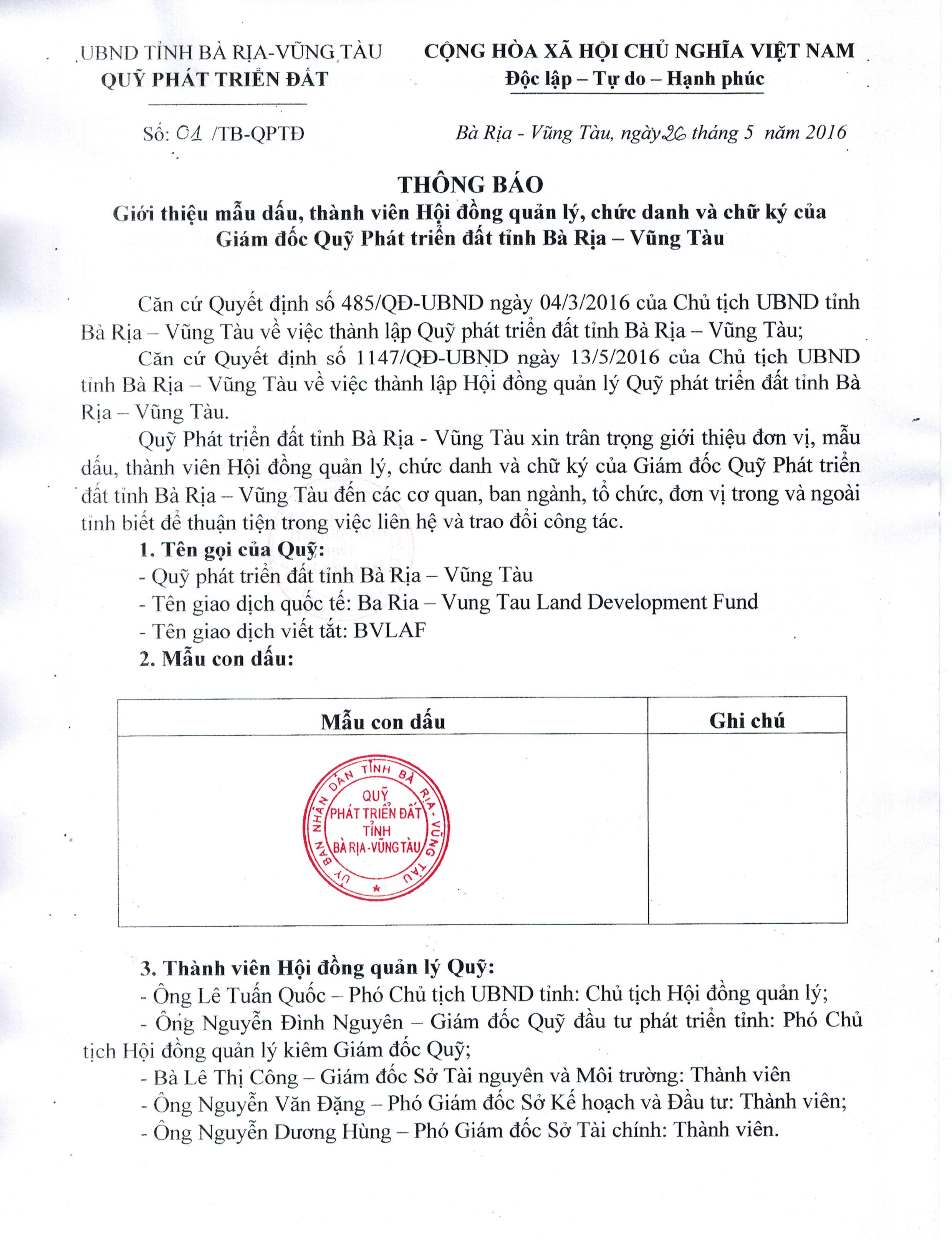 THÔNG BÁO Giới thiệu mẫu dấu, thành viên Hội đồng quản lý, chức danh và chữ ký của Giám đốc Quỹ Phát triển đất tỉnh Bà Rịa – Vũng Tàu