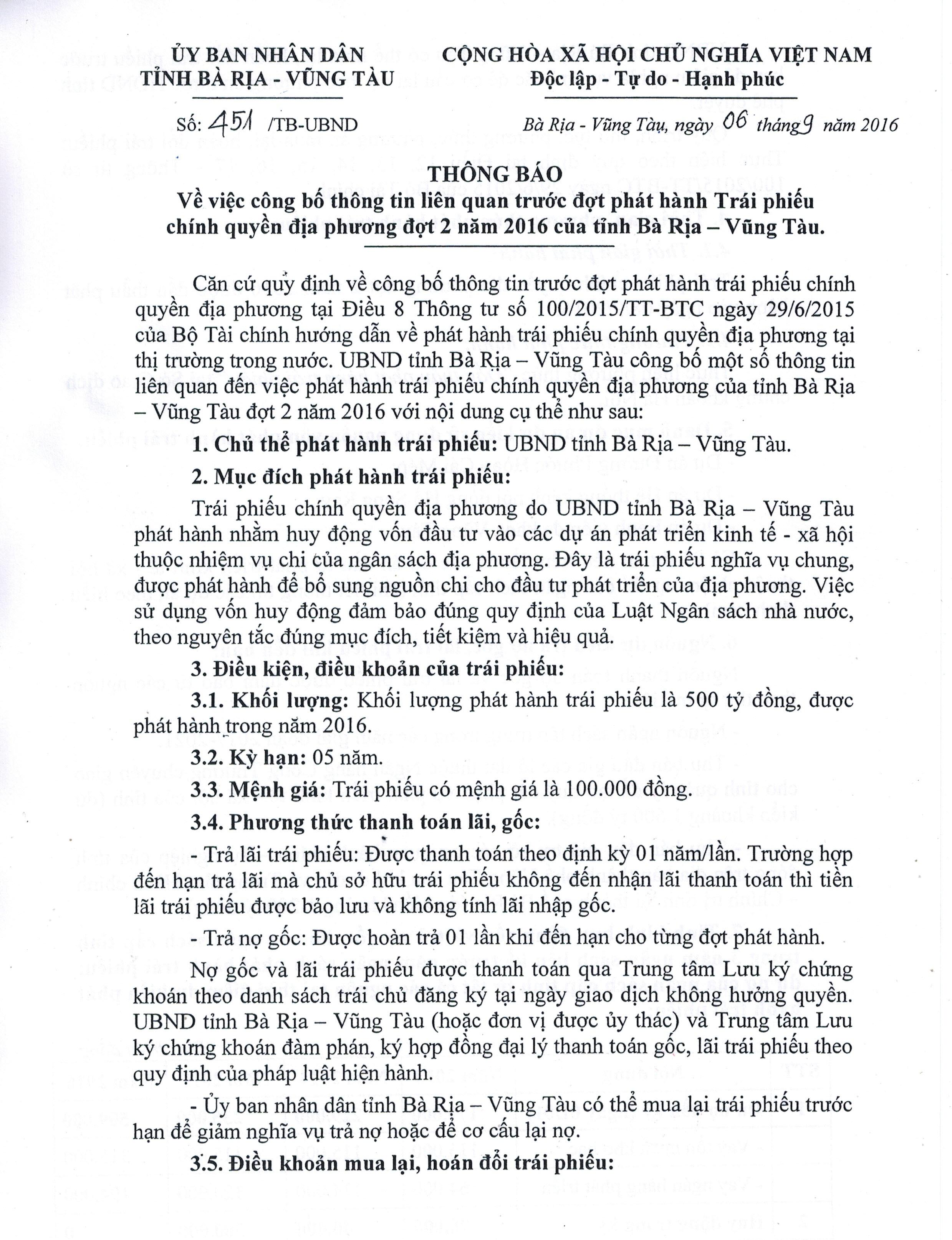 Thông báo về việc công bố thông tin liên quan trước đợt phát hành Trái phiếu chính quyền địa phương đợt 2 năm 2016 của tỉnh Bà Rịa – Vũng Tàu
