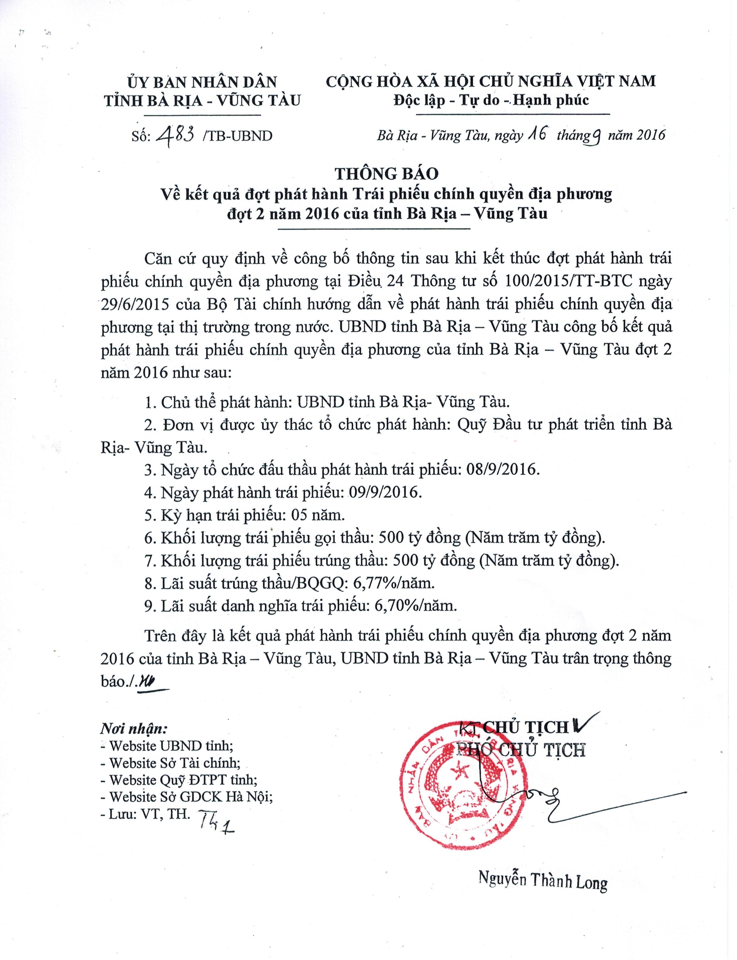 THÔNG BÁO Về Kết quả đợt phát hành Trái phiếu chính quyền địa phương đợt 2 năm 2016 của Tỉnh Bà Rịa – Vũng Tàu