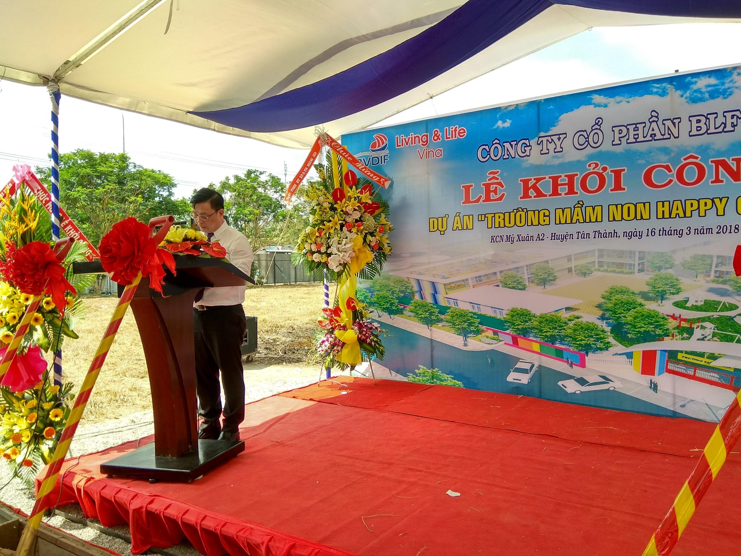 """Lễ khởi công dự án """"Trường mầm non Happy Garden"""" tại Khu công nghiệp Mỹ Xuân A2, huyện Tân Thành, tỉnh Bà Rịa – Vũng Tàu"""